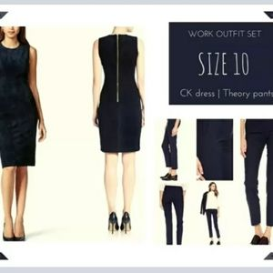 Size 10 navy work outfit set Theory & Calvin Klein